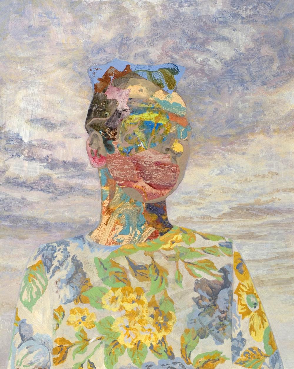 "Christopher, 2006, acrylic, collage on panel, 20"" x 16"""