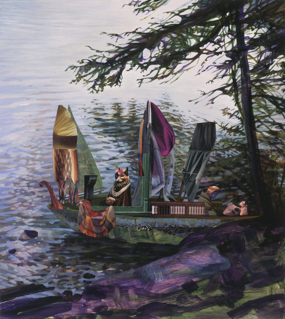 """Early Shore, 2006, acrylic, collage on panel, 27"""" x 24"""""""