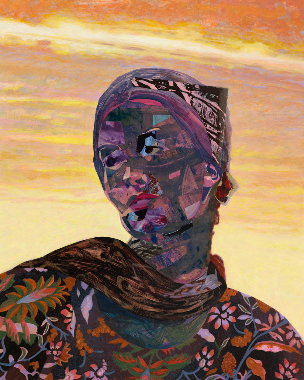 "Daybreak Turban, 2007, acrylic, collage on panel, 20"" x 16"""