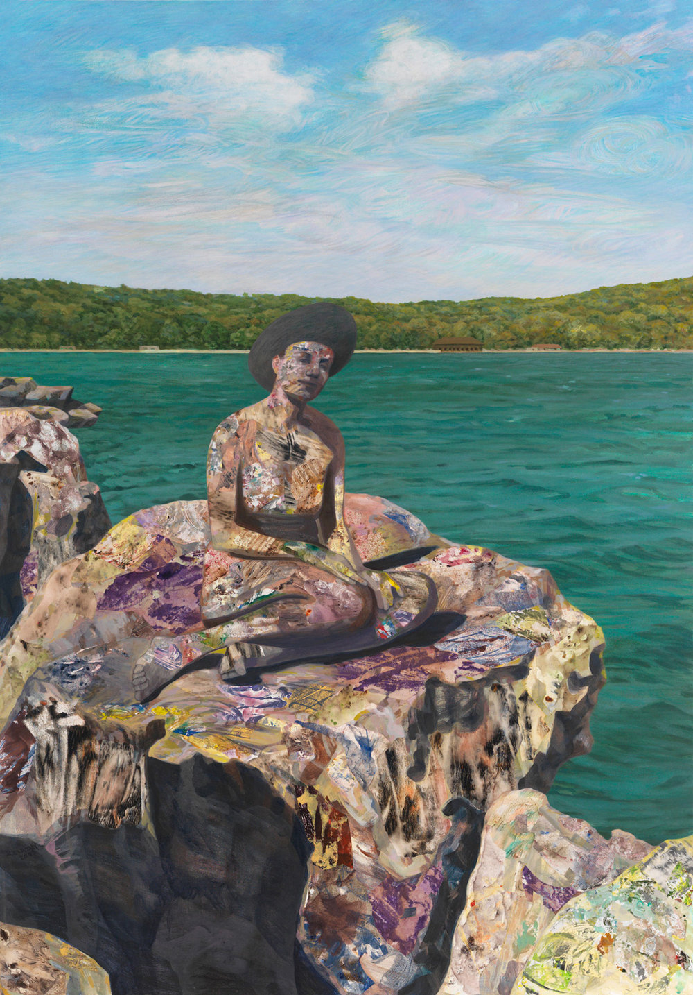 """Devil's Lake, 2008, acrylic, oil collage on canvas, 63.5"""" x 44"""""""