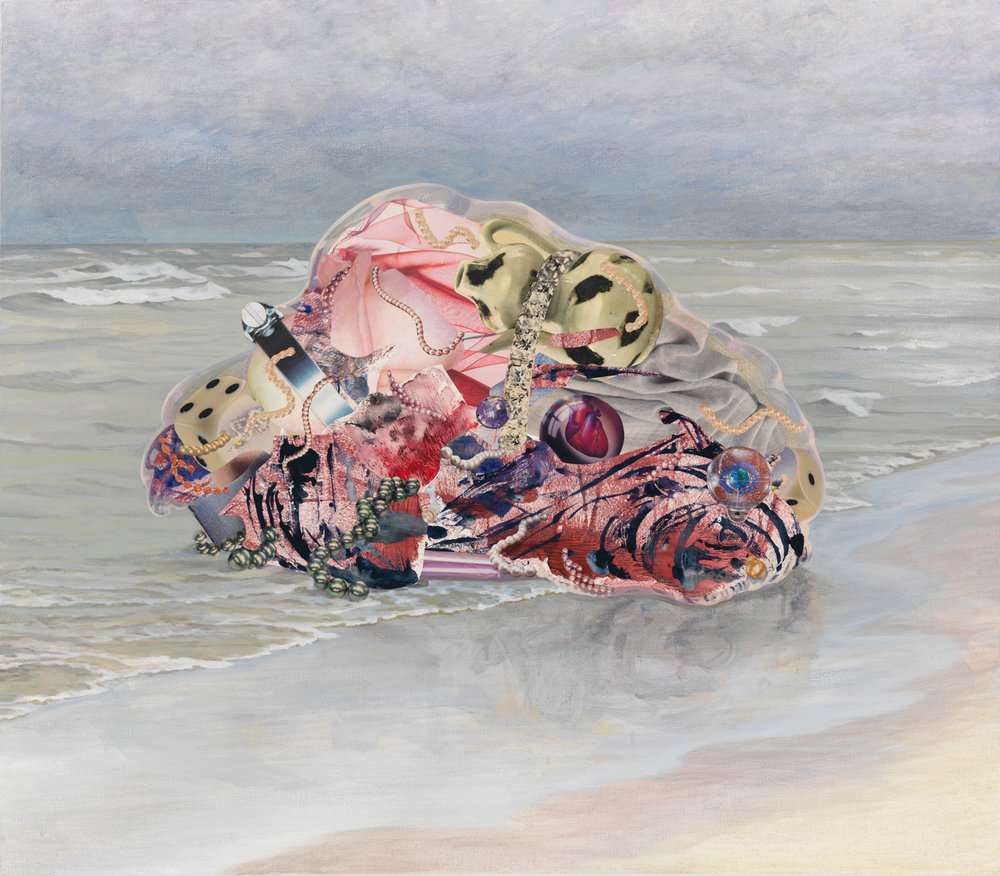 "Pink Tide, 2009, acrylic, collage on canvas, 35"" x 40"""