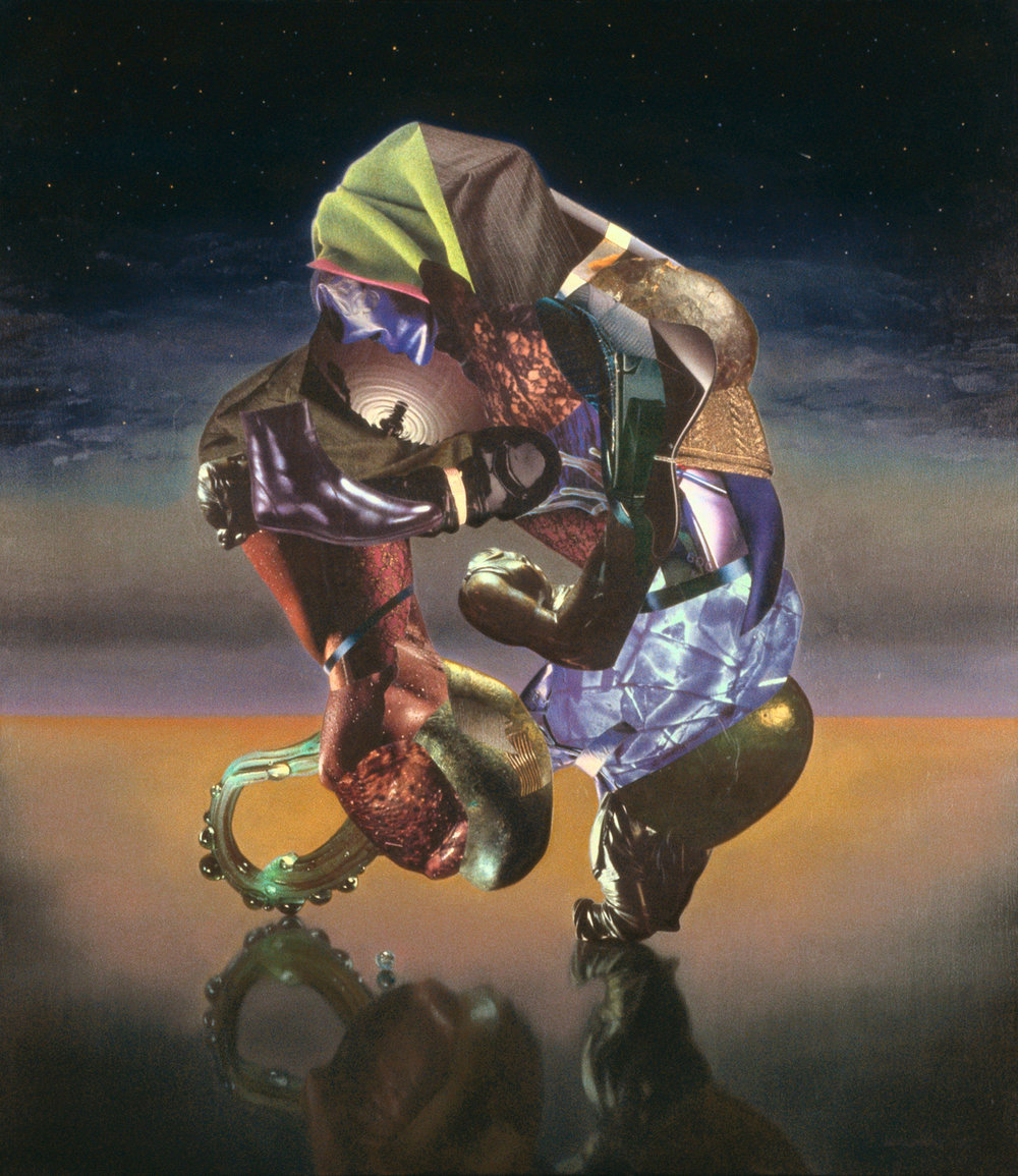 "Blue Victor, 1992, oil, collage on canvas, 49"" x 43"""