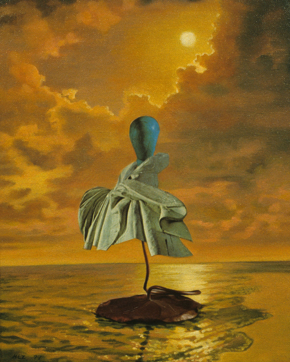 "Knobkerrie Sunset, 1997, acrylic, oil, collage on canvas, 10"" x 8"""