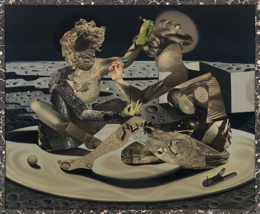 "The Vaccination, 1992, oil, collage on linen, 47.5"" x 57"""
