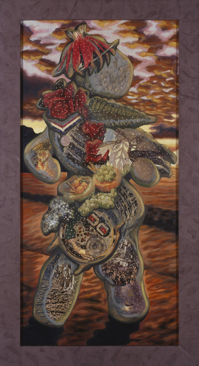 "Sea Walker, 1986, oil, collage on panel, 54"" x 30"""