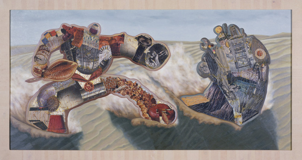 "Storm, 1986, oil, collage on panel, 55"" x 103"""