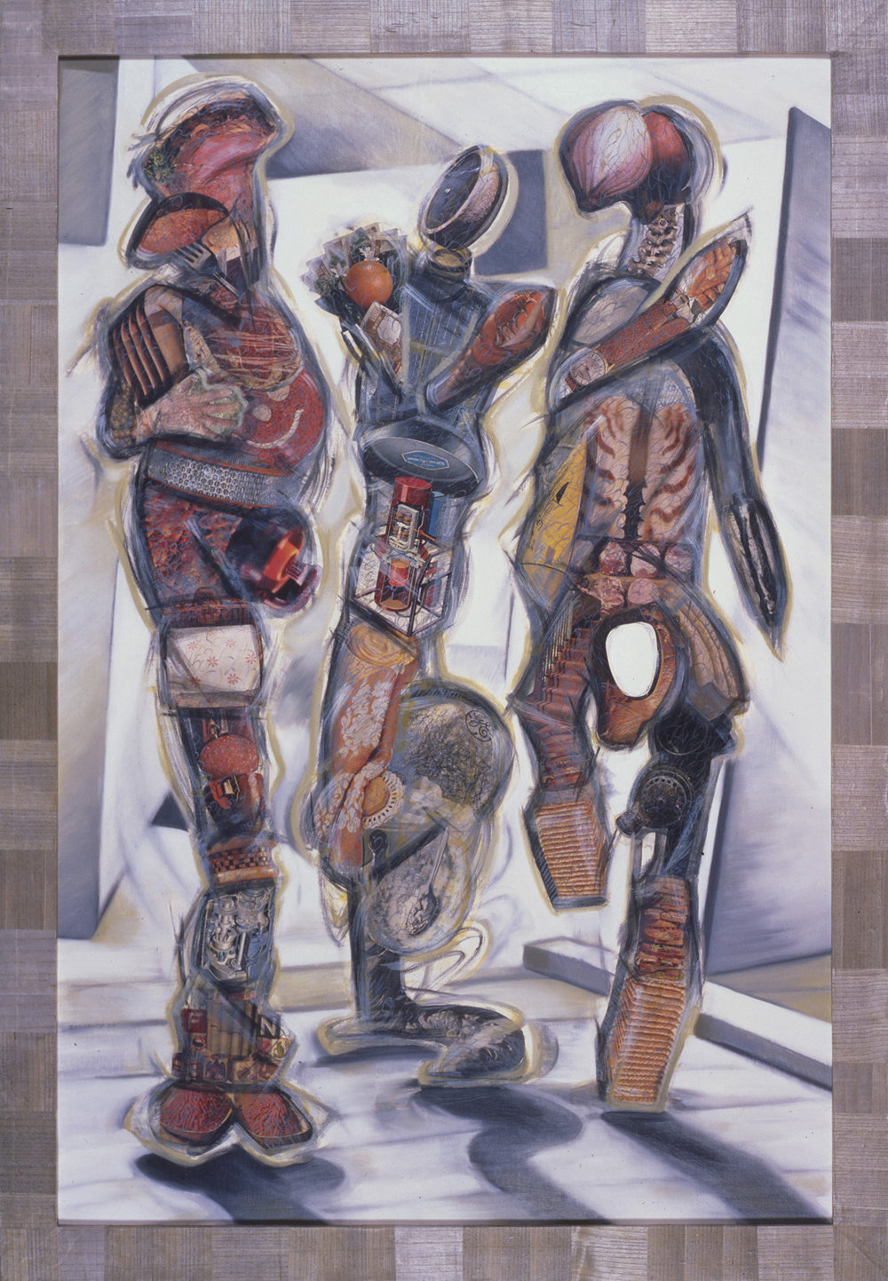"Thick as Thieves, 1986, oil, collage on panel, 79.5"" x 55"""