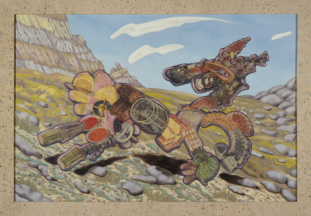 "Trigger, 1986, oil, collage on panel, 54.5"" x 78"""