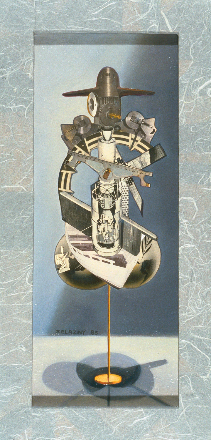 "Hydraulic Tabulator, 1989, oil, collage on panel, 15.5"" x 12"""