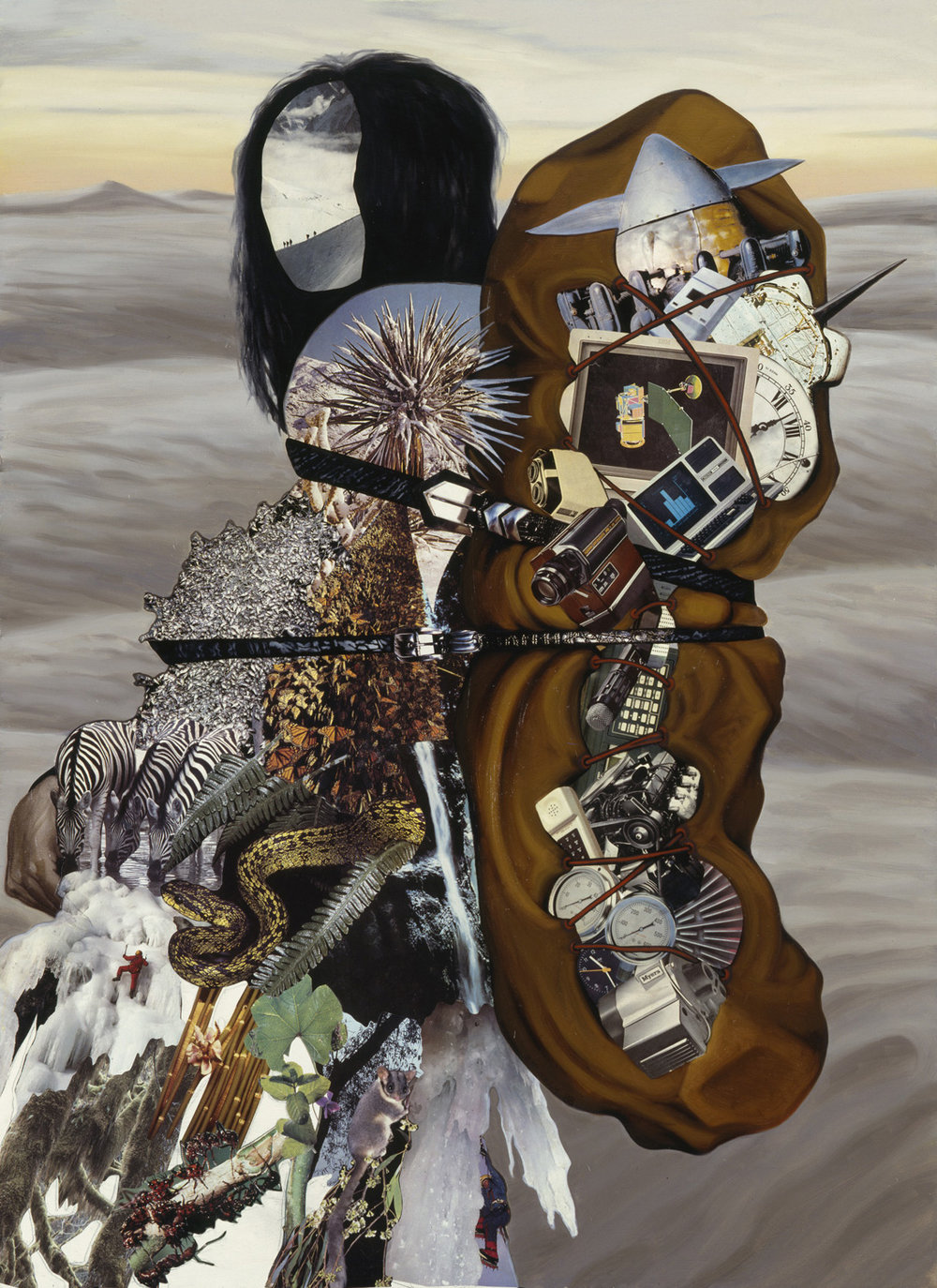 "Amazon Papoose, 1988, oil, collage on panel, 48"" x 35"""