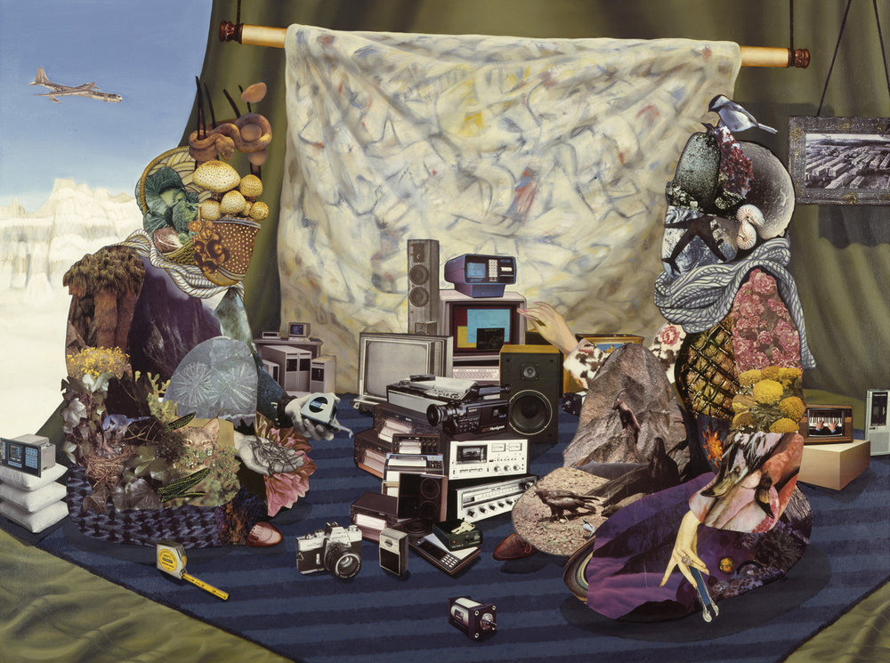 "Swapmeet, 1988, oil, collage on canvas, 51.5"" x 69"""