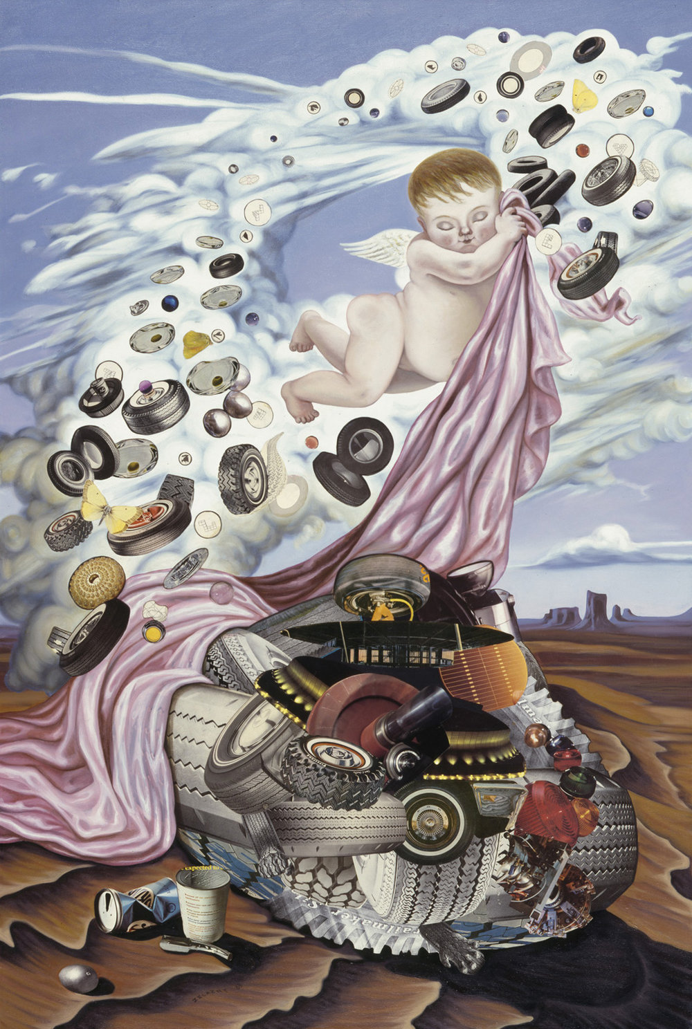 "Putto and the Wheel, 1988, oil, collage on canvas, 66"" x 44"""