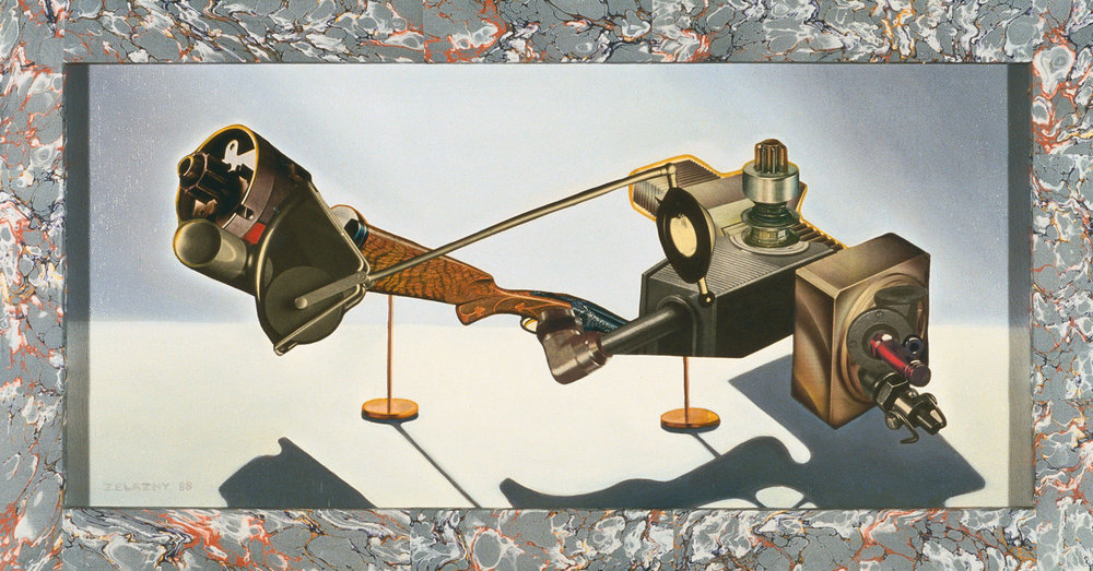 "4 Cycle Magneto, 1989, oil, collage on panel, 16.5"" x 30.5"""