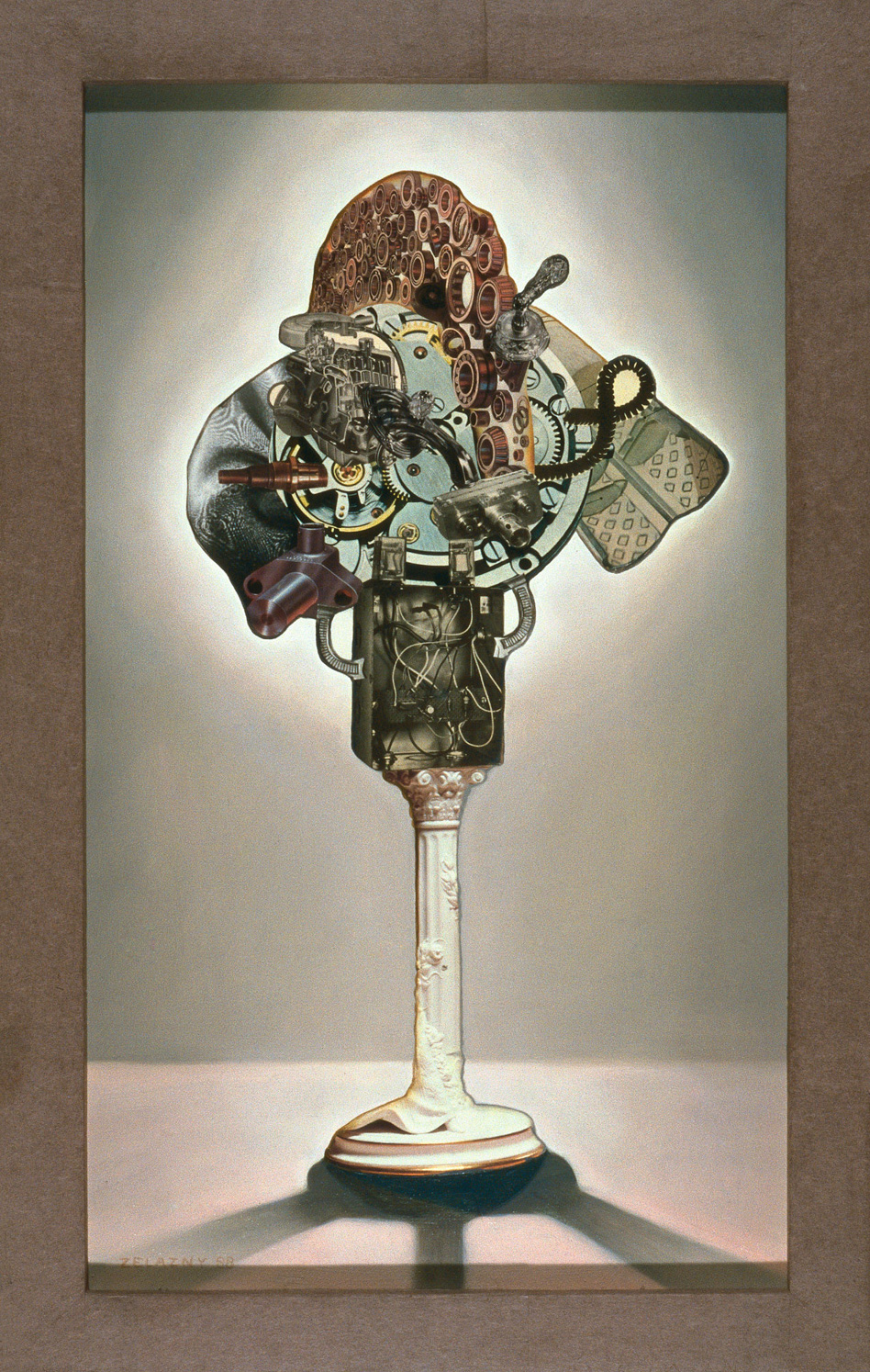 "Pneumatic Shredder, 1989, oil, collage on panel, 29.5"" x 19"""