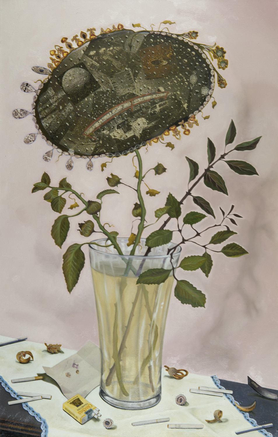 "Old Gold, 1989, oil, collage on canvas, 45"" x 29"""
