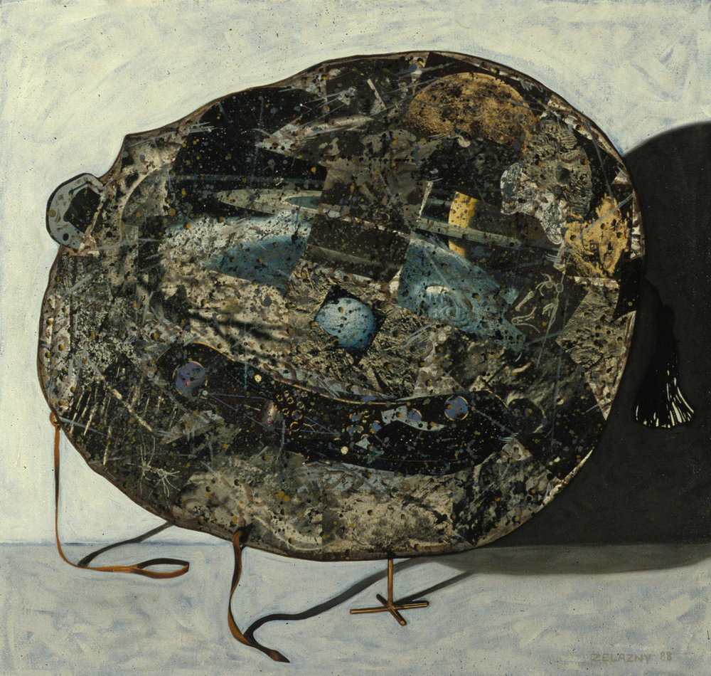 "Mask 1, 1988, oil, collage on canvas, 31"" x 33"""