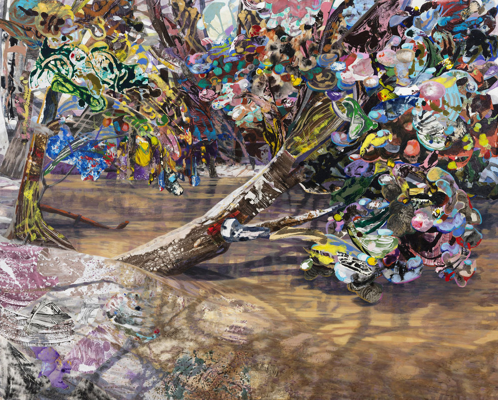 """The Eyed Tree 3, 2015, acrylic, collage, oil on canvas, 48"""" x 60"""""""