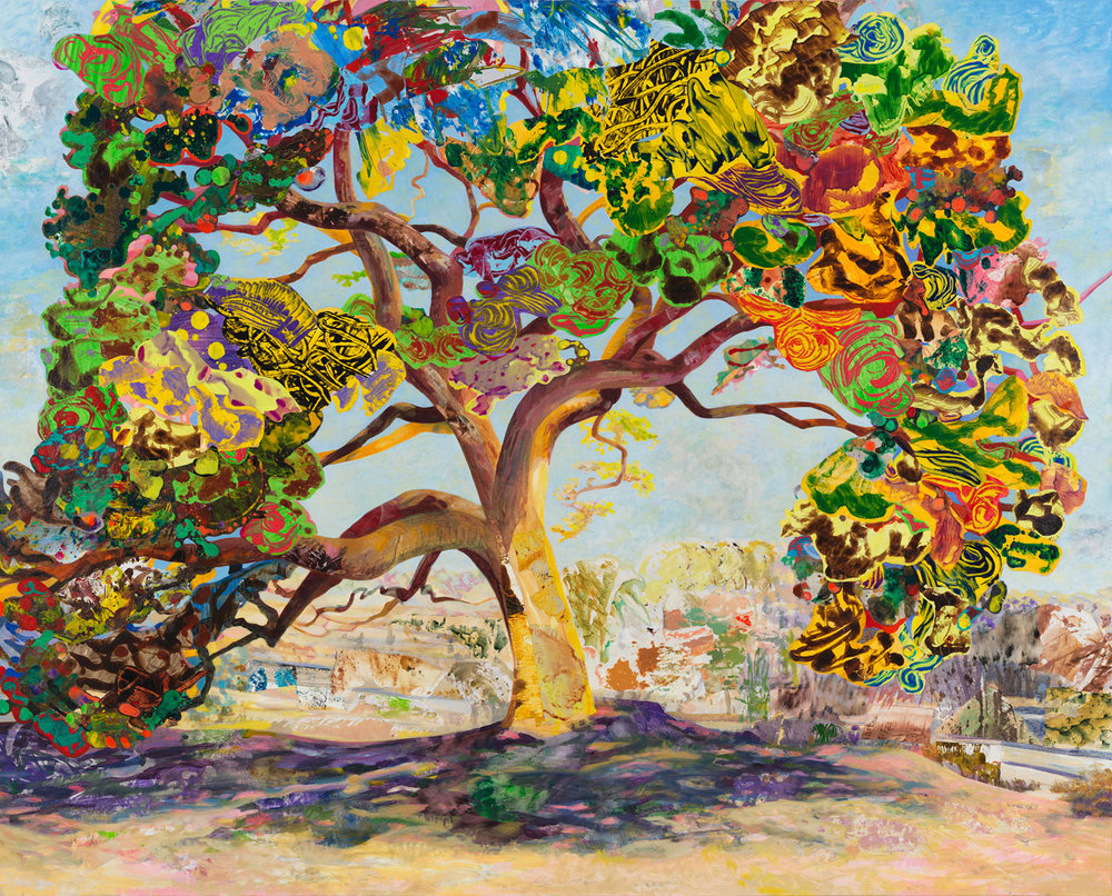 "The Eyed Tree 4, 2016, acrylic, collage, oil on canvas, 48"" x 60"""
