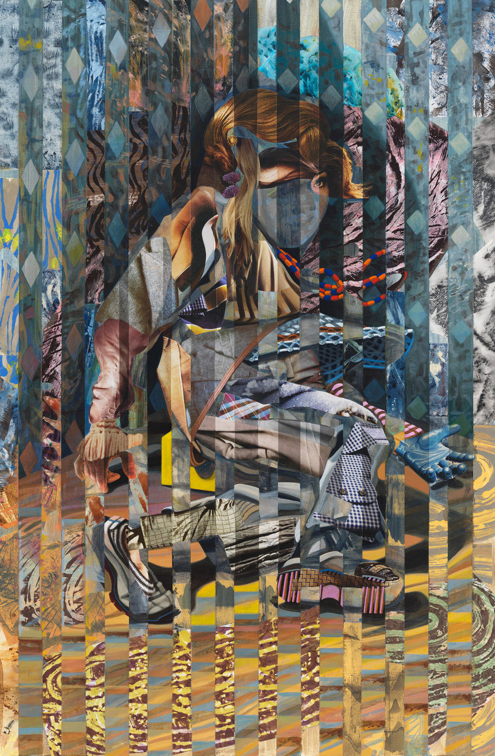 "Cornered Up, 2014, acrylic, collage, oil on canvas, 58"" x 38"""