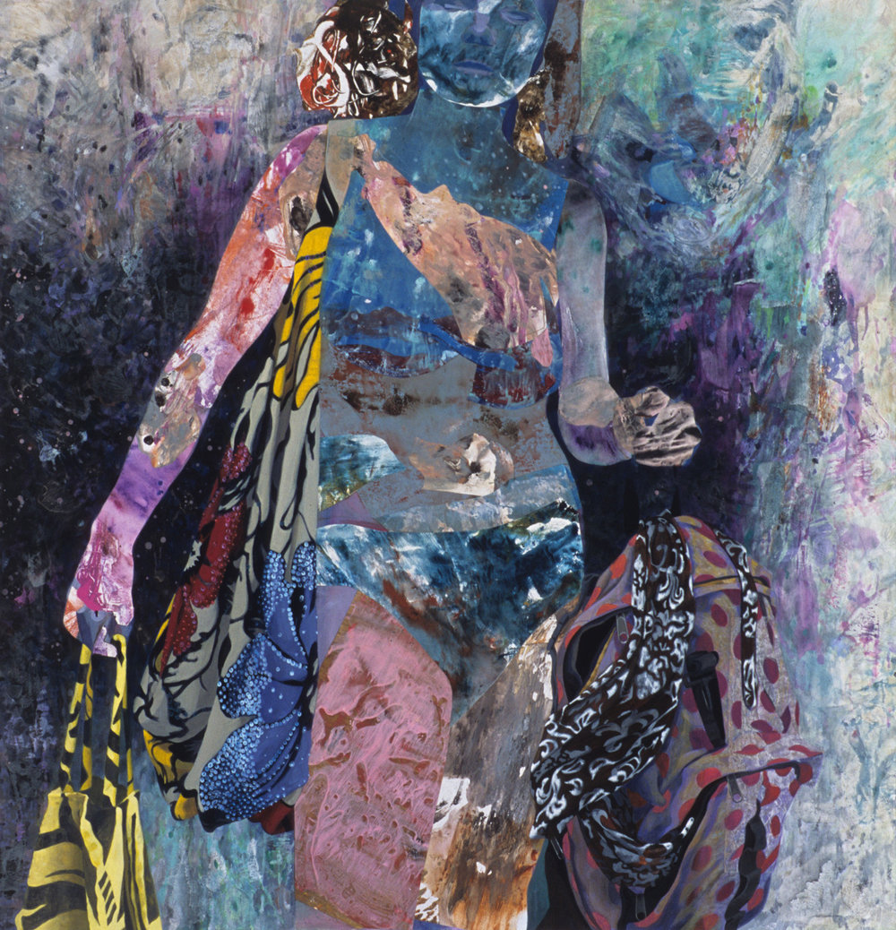 "Who's Seeing You, 2002, acrylic, oil, collage on canvas, 50"" x 48"""