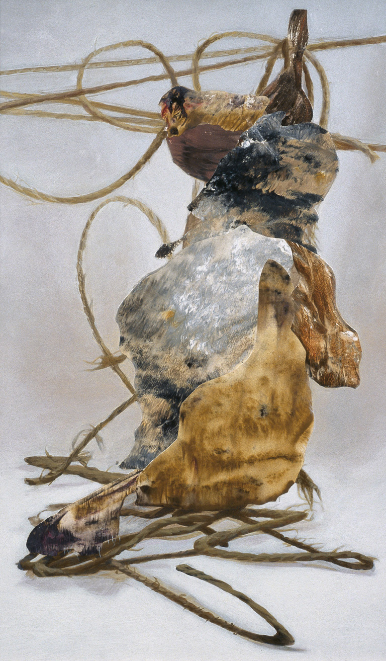 """Rope Beast, 2002, acrylic, oil, collage on panel, 16"""" x 10"""""""