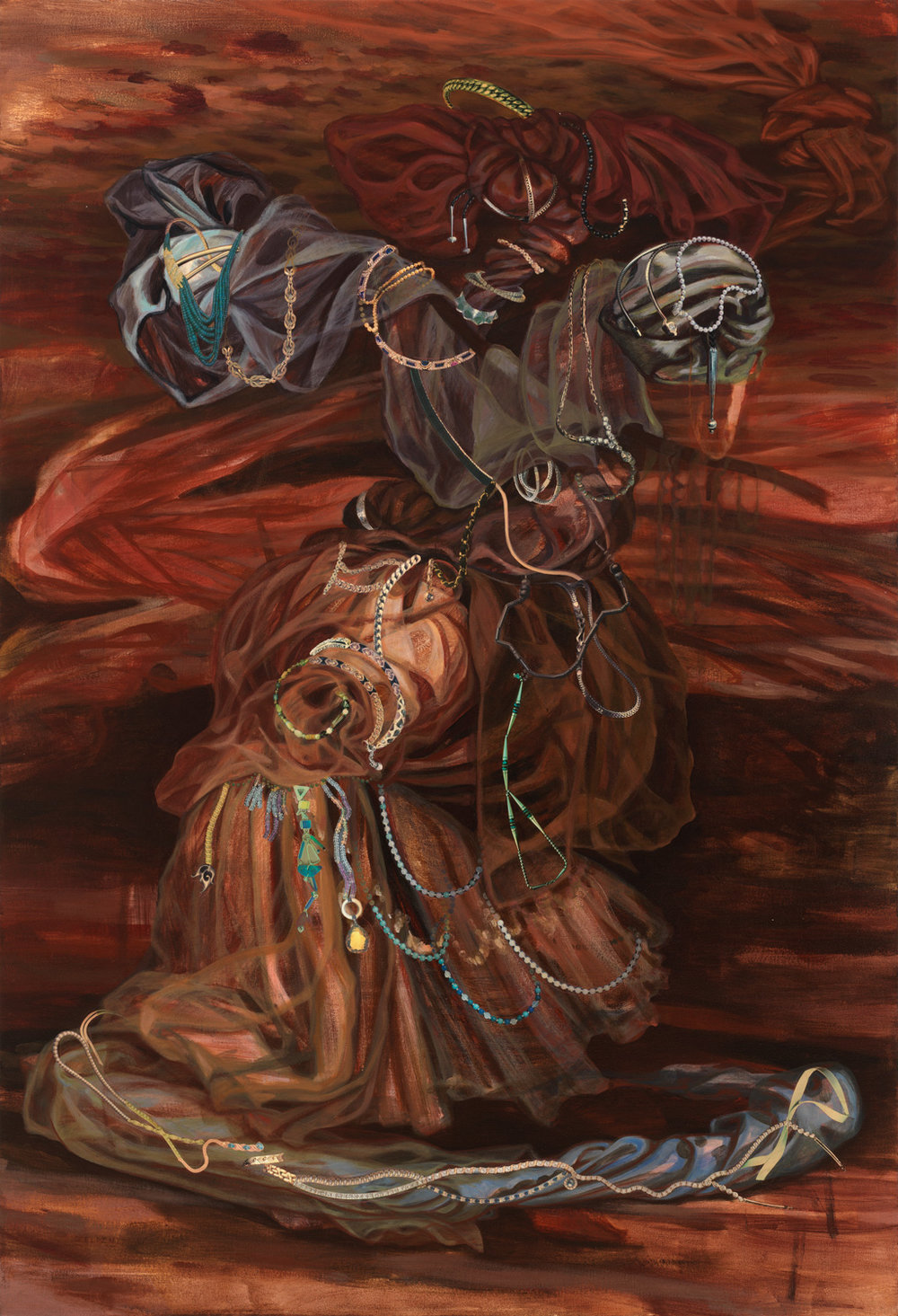 "The Weaver's Shuttle, 1997, acrylic, oil, collage on canvas, 63"" x 43"""