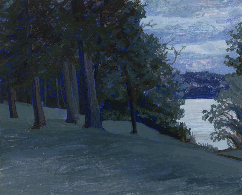 "Lake Chautaugua (dusk), 2016, acrylic on panel, 8"" x 10"""