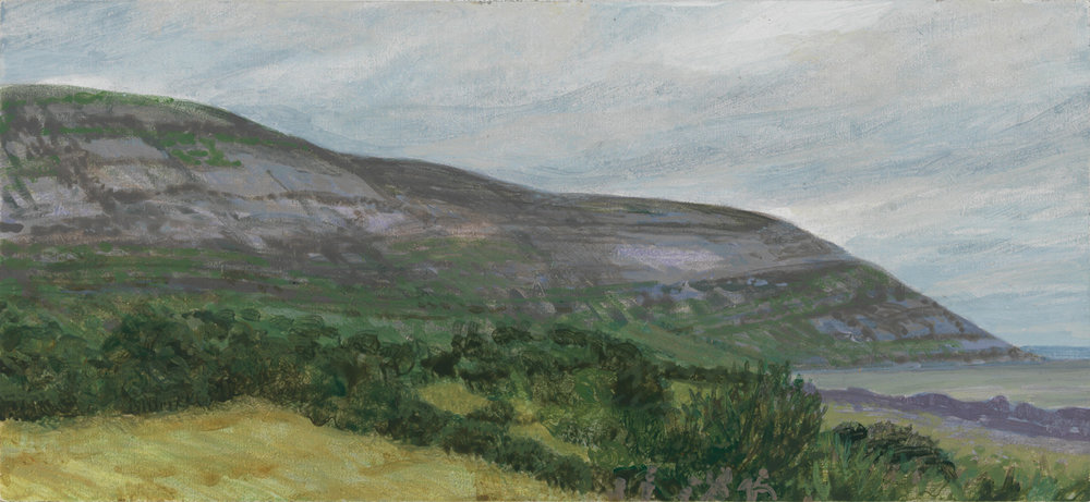 "Galway Bay Looking South - Ireland, 2010, acrylic on panel, 3.5"" x 8"""