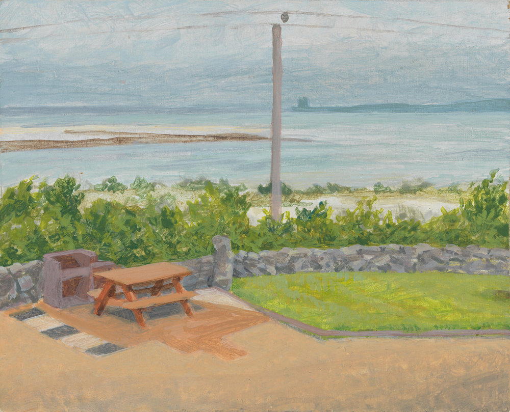 "Tigin Patio - Ireland, 2010, acrylic on panel, 4"" x 5"""