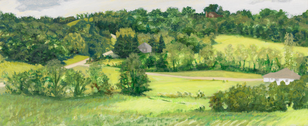 "Wisconsin Hills, 2004, acrylic on panel, 4.5"" x 11"""