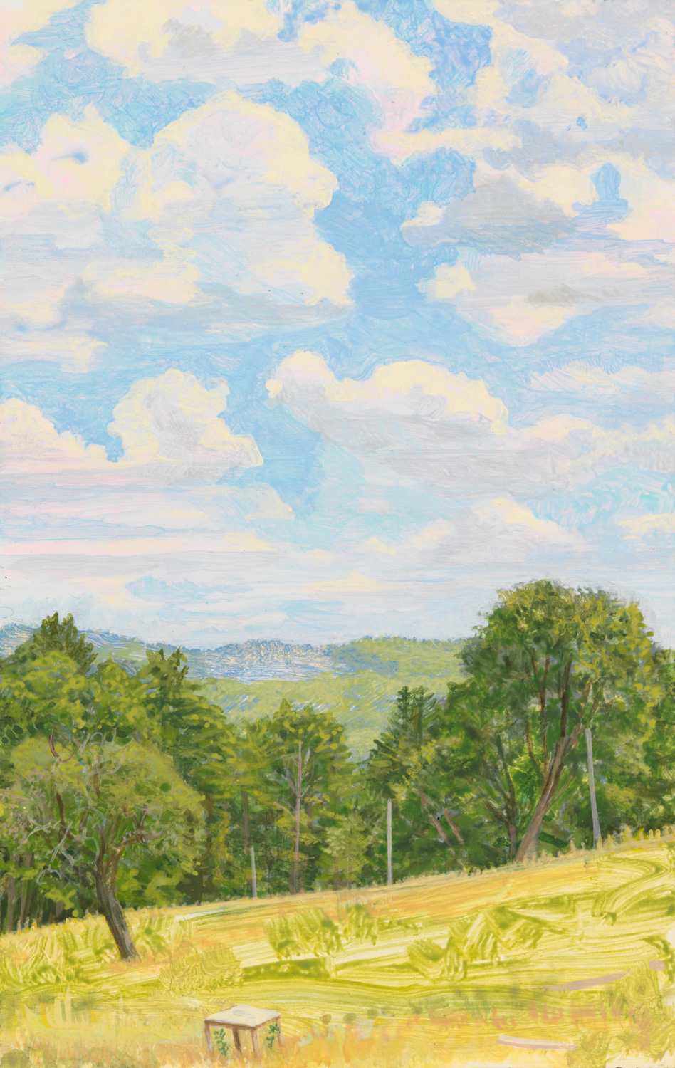 "View from Morgan's Porch, 2005, acrylic on panel, 9"" x 6"""