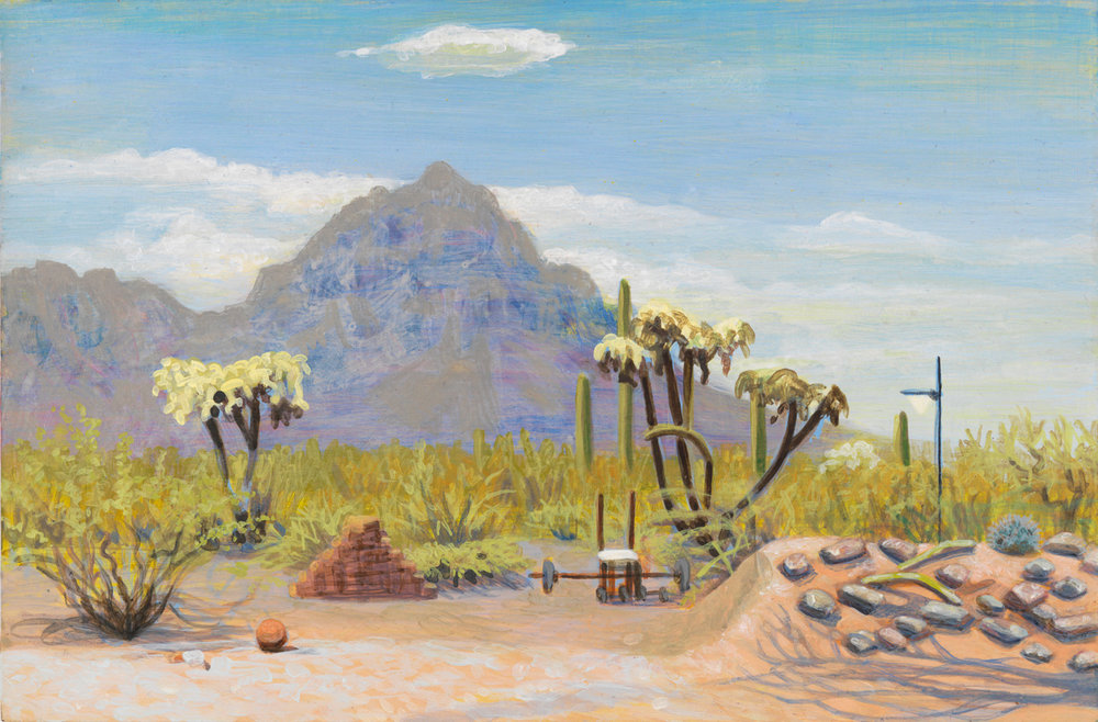 "Tuscon Back Yard, 2000, acrylic on panel, 6"" x 9"""