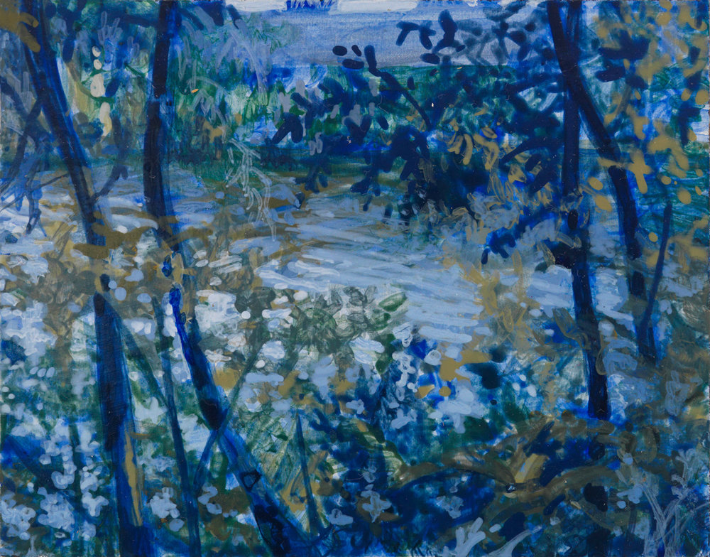 "Galien River, 2001, acrylic on panel, 2.5"" x 3"""