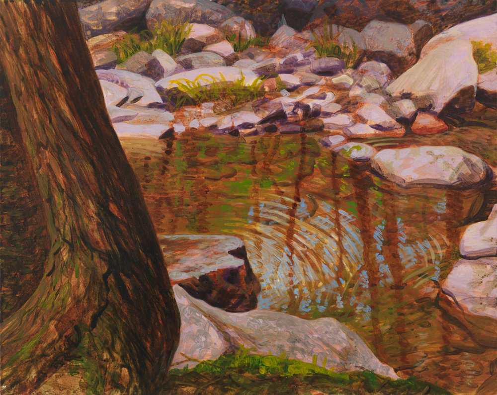 "Pennsylvania Creek, 2001, acrylic on panel, 8"" x 10"""