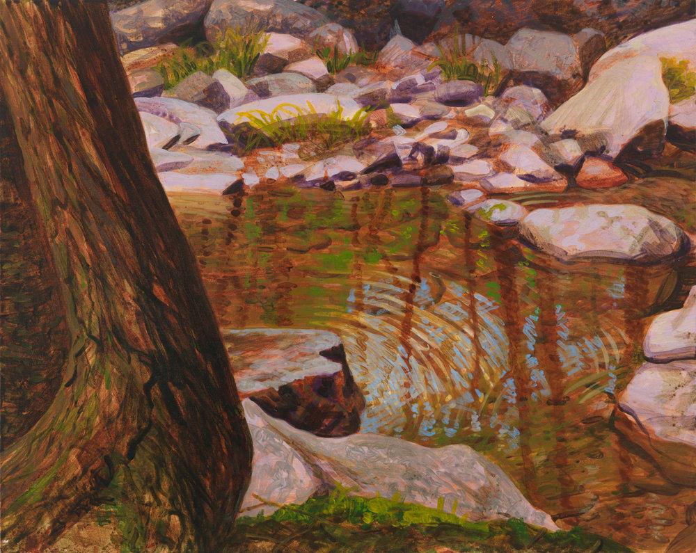 "Pennsylvania Creek, 2001, acrylic on panel, 8"" x 10"""