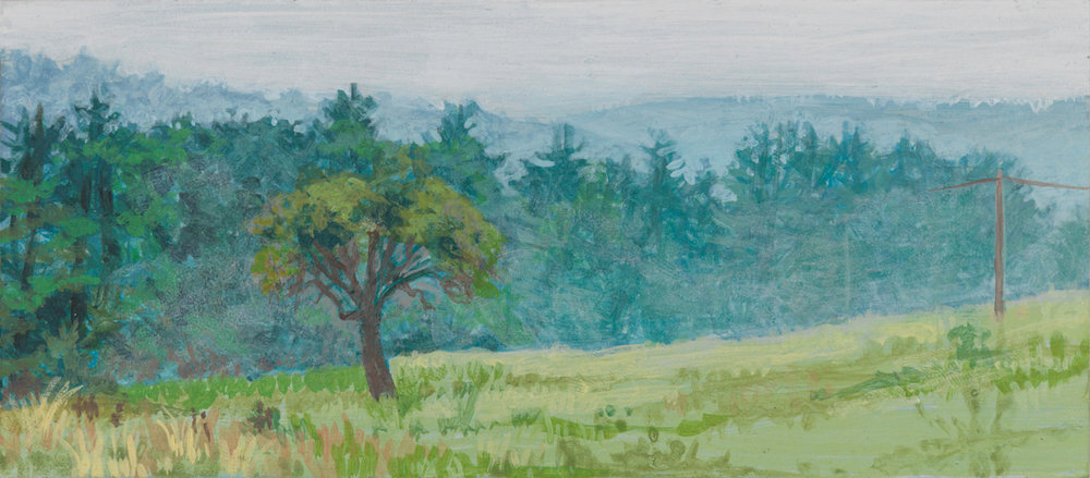 "Morgan's View, 2002, acrylic on panel, 2.5"" x 6"""