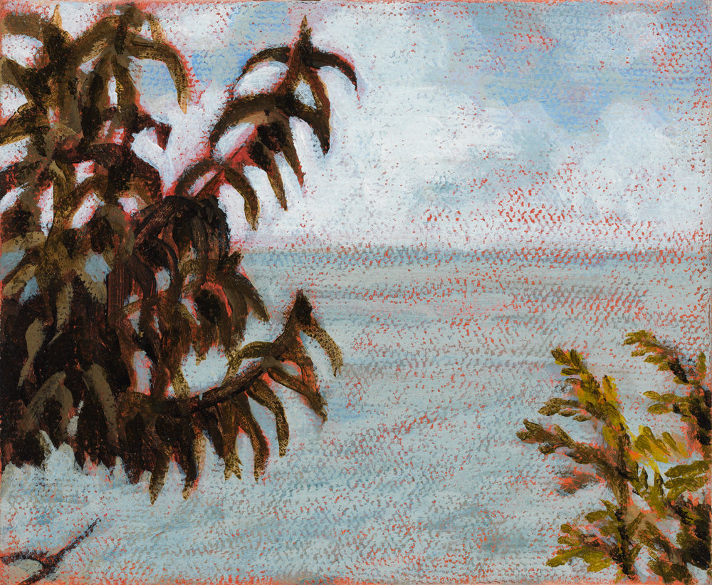 "Michigan Landscape 2, 1995, acrylic on canvas, 4"" x 5"""