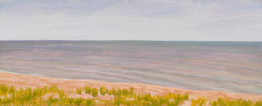 "Michigan Landscape 2, 1997, acrylic on panel, 4"" x 10"""