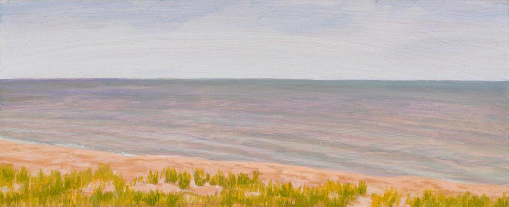 "Michigan Landscape 2, 1997, acrylic on panel, 4"" x 10"""