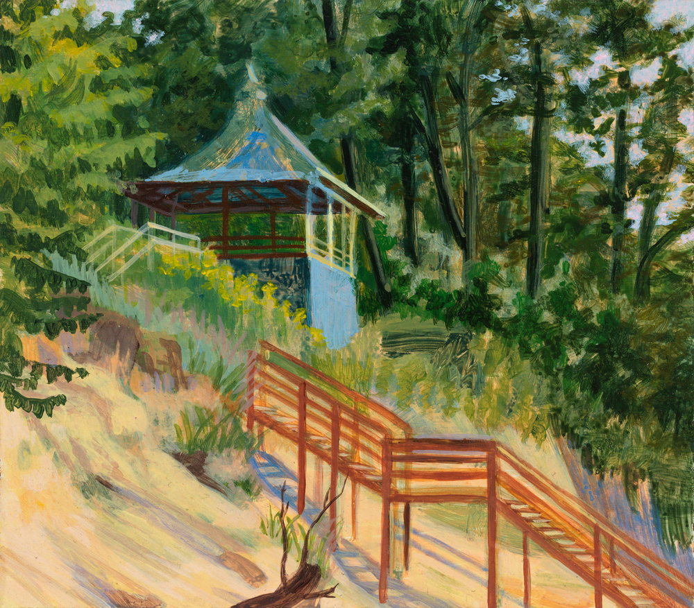 "Beloved Pagoda at Hagar Shores, 1998, acrylic on panel, 5.5"" x 6.5"""