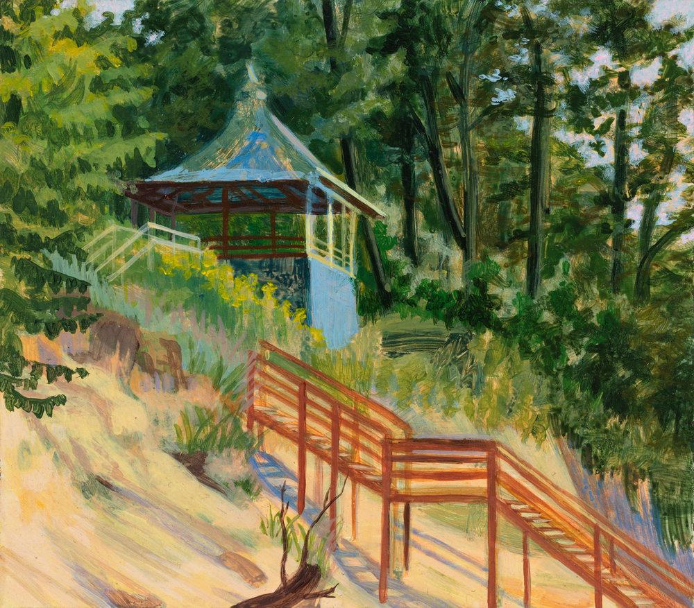 """Beloved Pagoda at Hagar Shores, 1998, acrylic on panel, 5.5"""" x 6.5"""""""