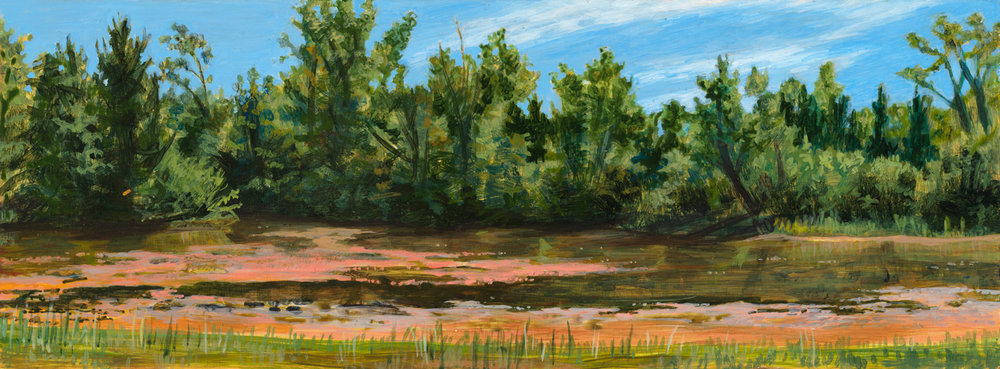 "Harbert Lagoon, 1998, acrylic on panel, 4.5"" x 12"""