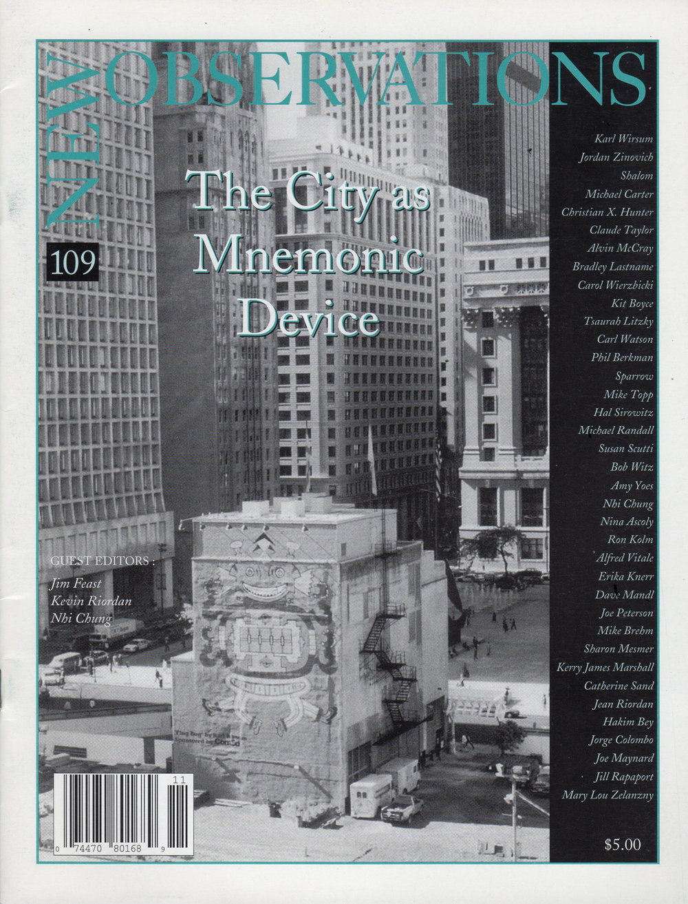 New Observations  - Issue #109 : The City as Mnemonic Device, New York, NY, November - December 1995.