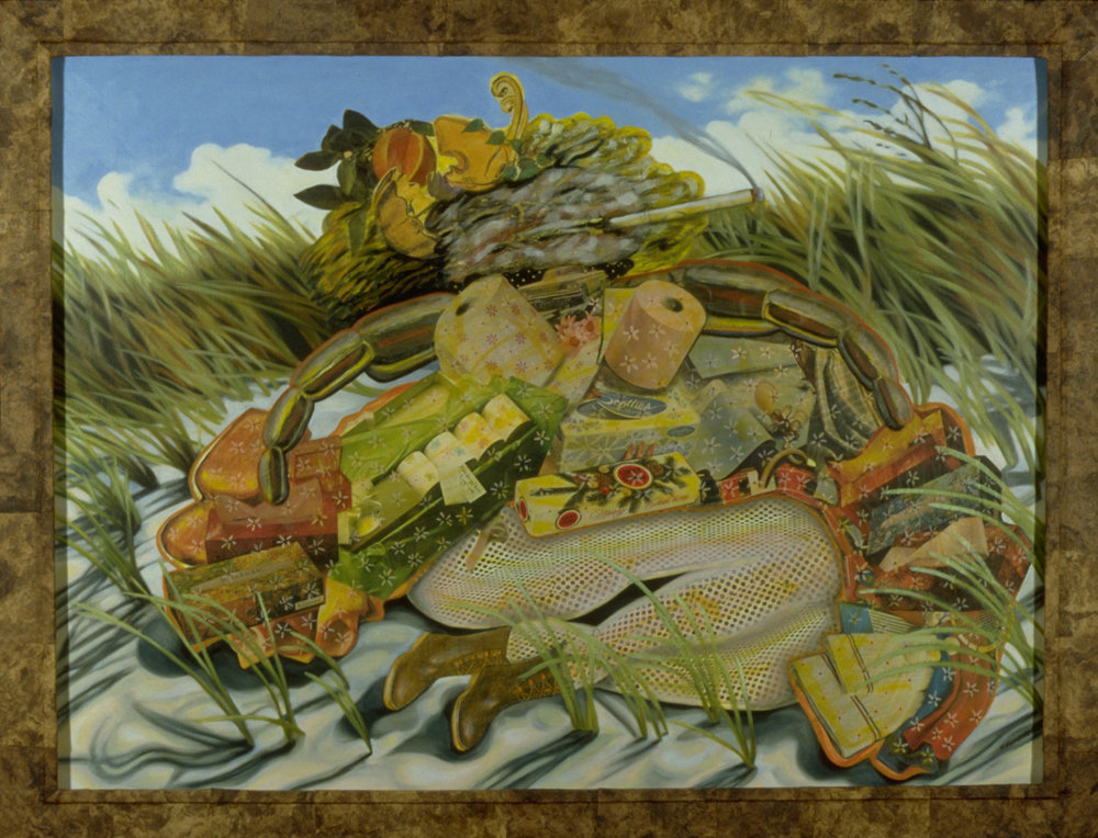 "Dune Smoker, 1987, oil, collage on panel, 40"" x 52.5"""