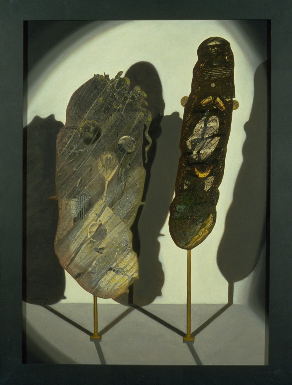 "Mask 4, 1989, oil, collage on panel, 54"" x 41"""