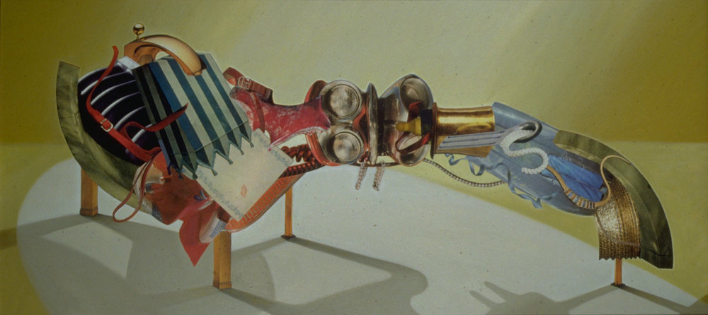 "Pleasure vs. Happiness, 1989, oil, collage on canvas, 25"" x 54"""