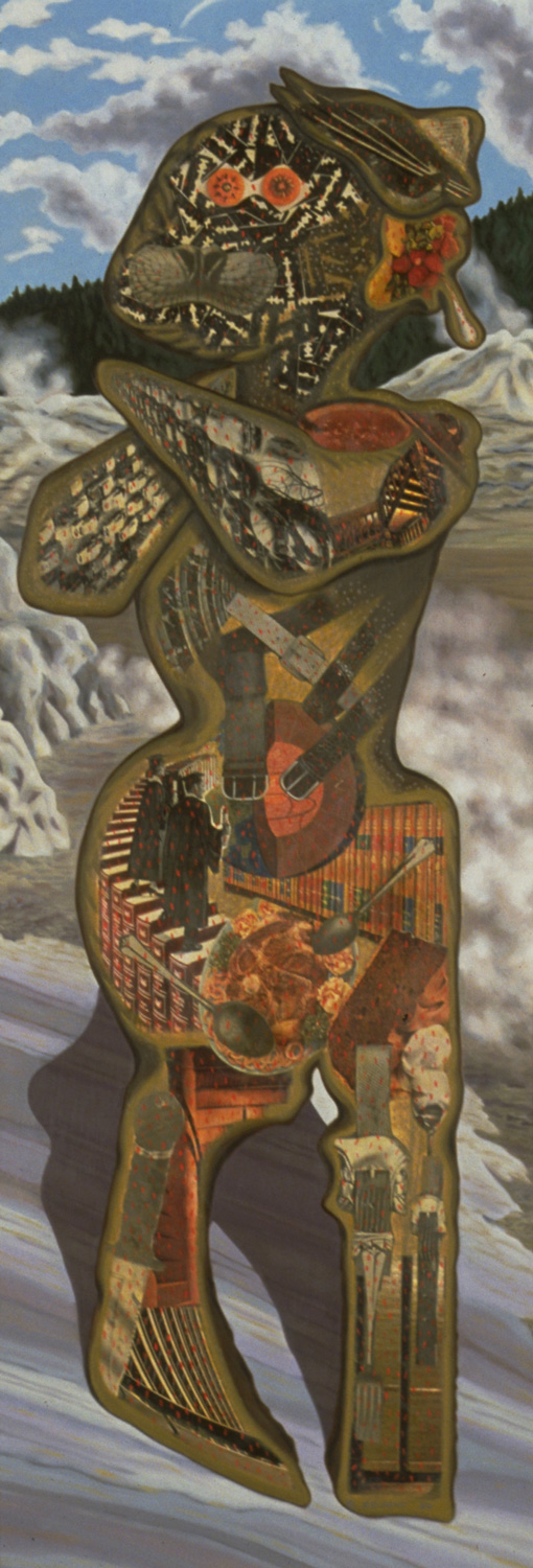 "Razor Head, 1986, oil, collage on panel, 71"" x 29"""