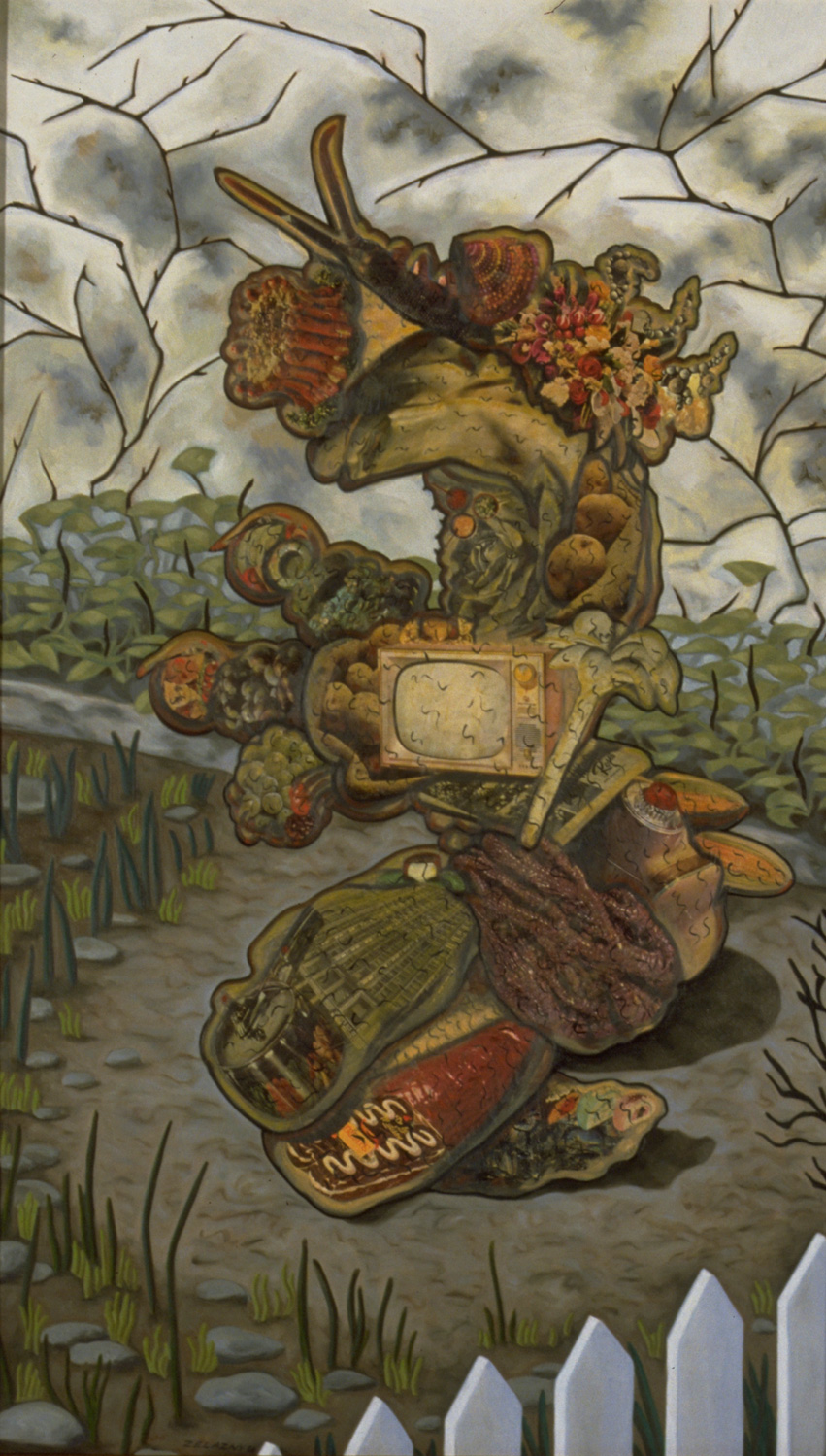 "Slugger, 1986, oil, collage on panel, 71"" x 29"""