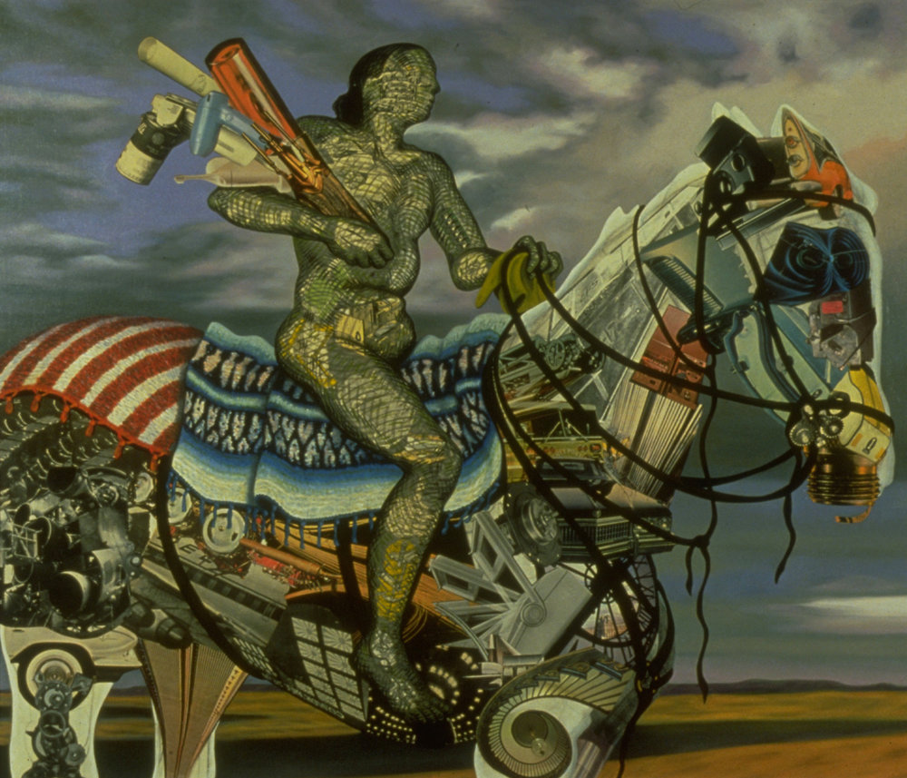 "The New World, 1988, oil, collage on canvas, 54.5"" x 64.4"""