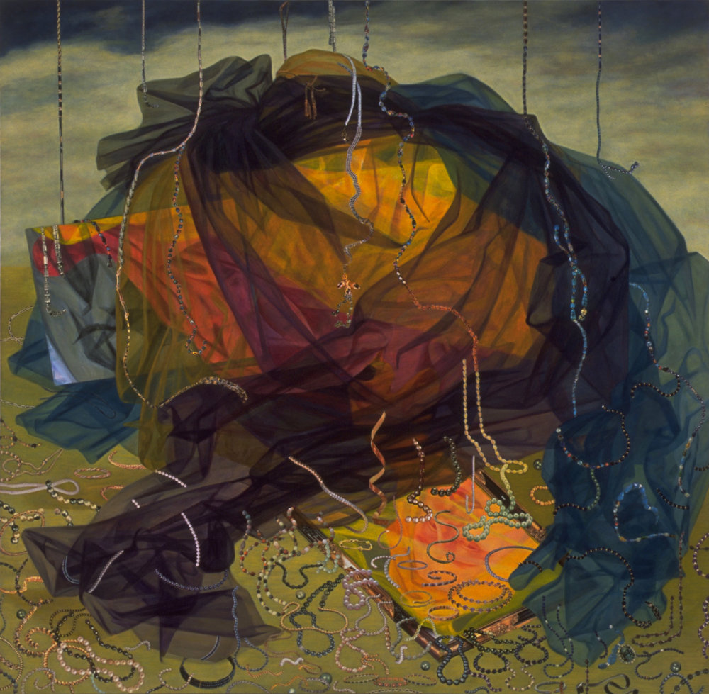 "Close at Hand, 2000, acrylic, oil, collage on canvas, 57"" x 58"""